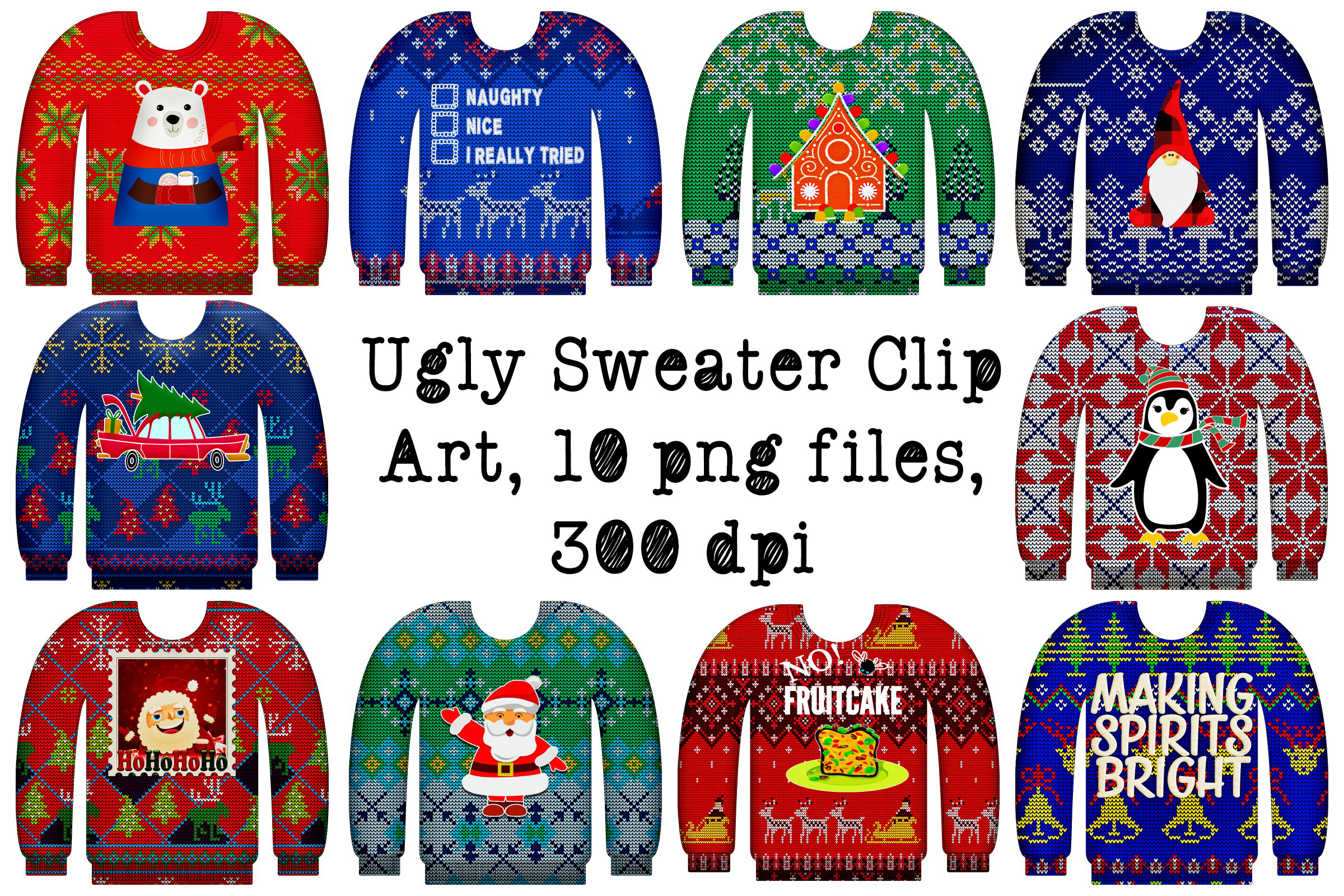 Christmas Sweater Clipart.Ugly Christmas Sweaters With Graphics Clip Art