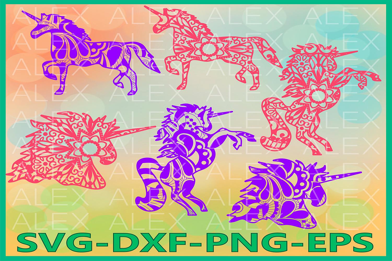 Unicorn SVG, Unicorn Mandala SVG, Unicorn Zentangle svg example image 1