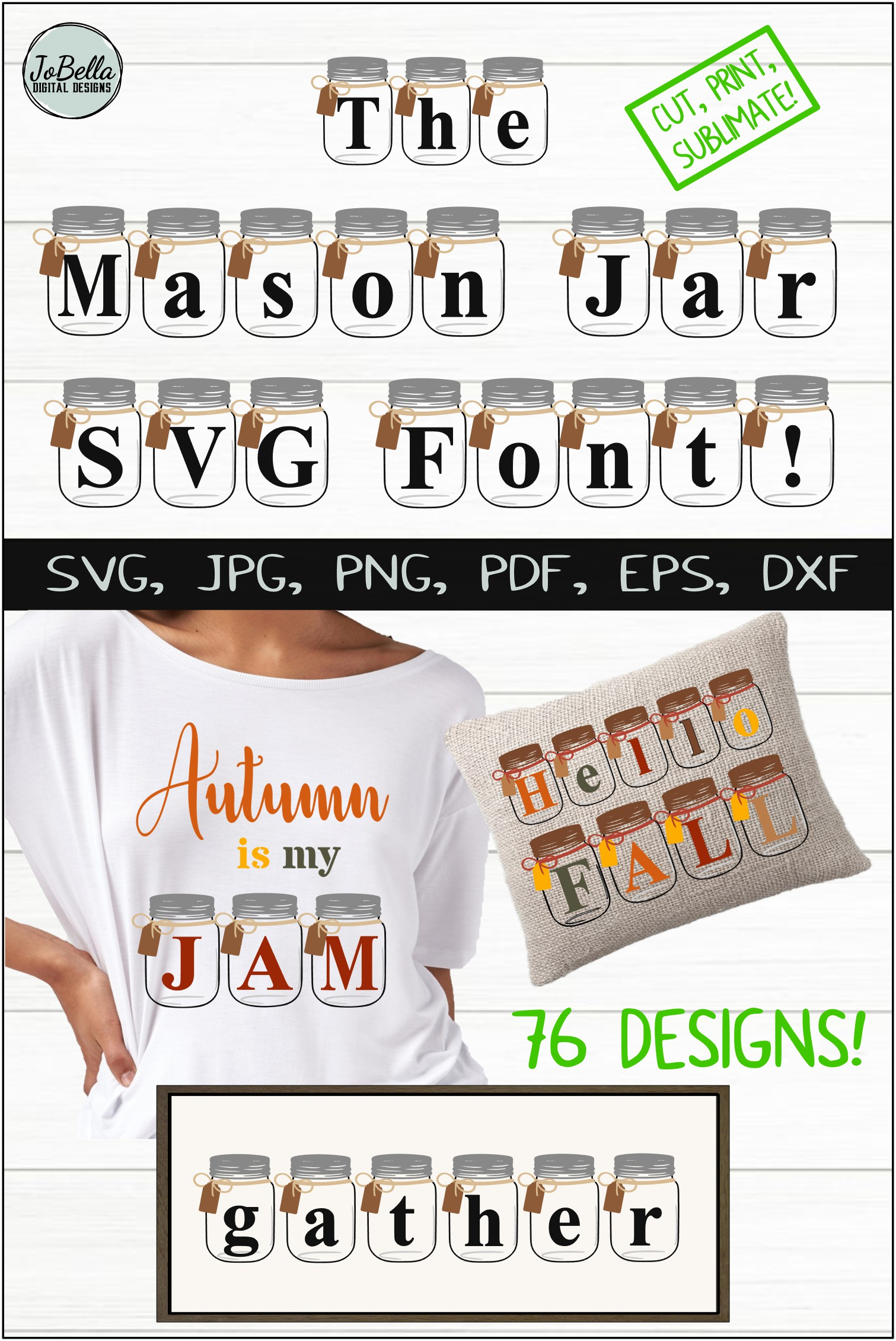 Farmhouse SVG Alphabet, Printables and Sublimation PNGs example image 7