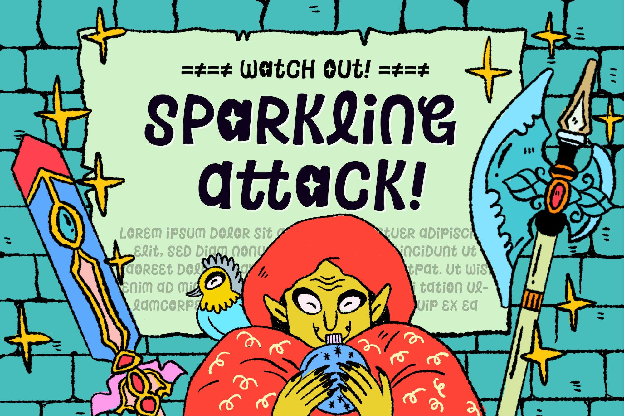 Sparkling Attack Font example image 3
