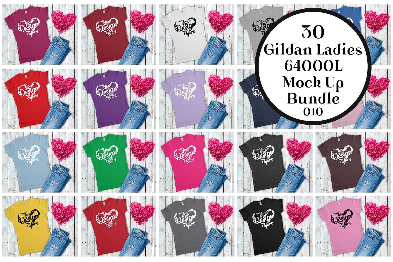 Gildan 64000L Ladies T-Shirt Mockup Bundle Flat Lay example image 1