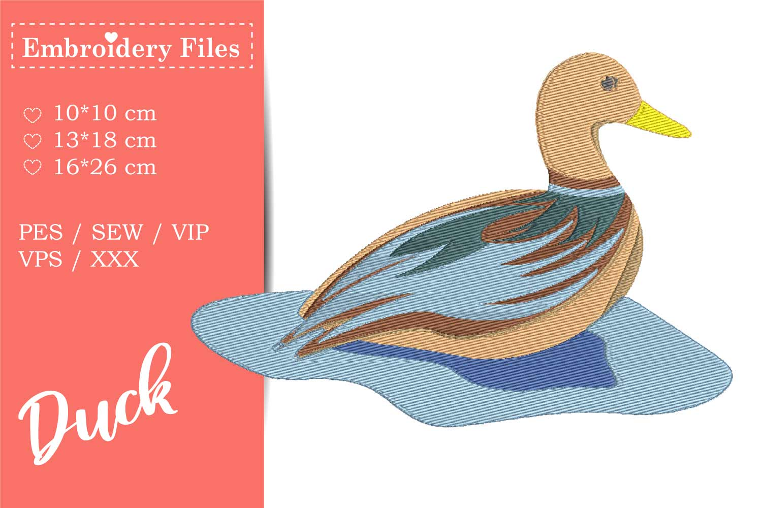 A cute Duck - Embroidery File for Beginners example image 2