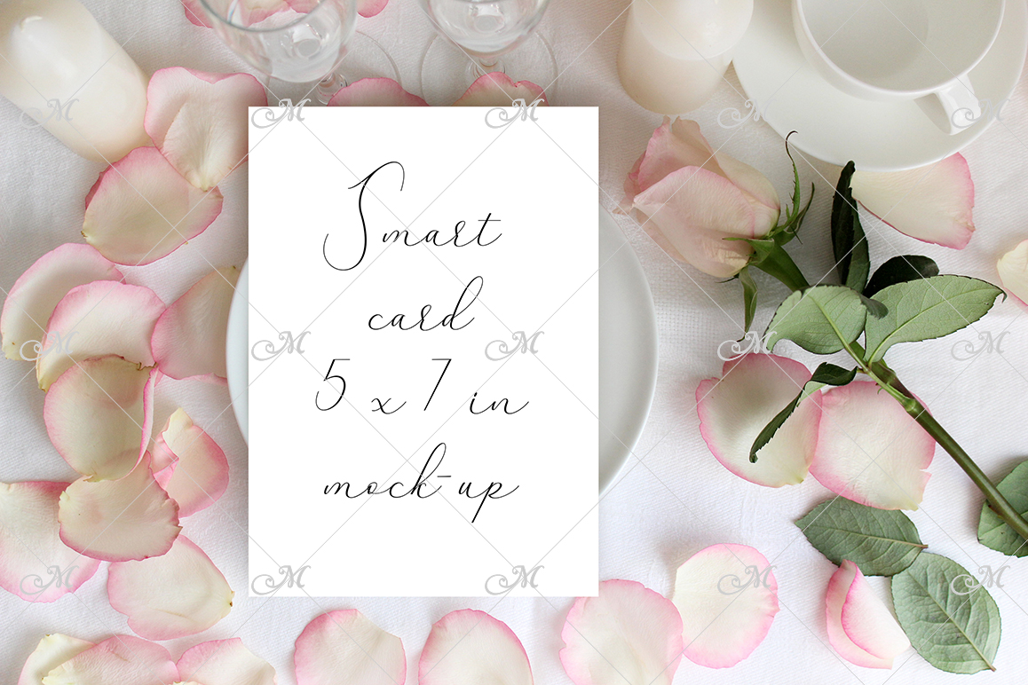 Table card Mockup with a Rose. PSD+JPG example image 2