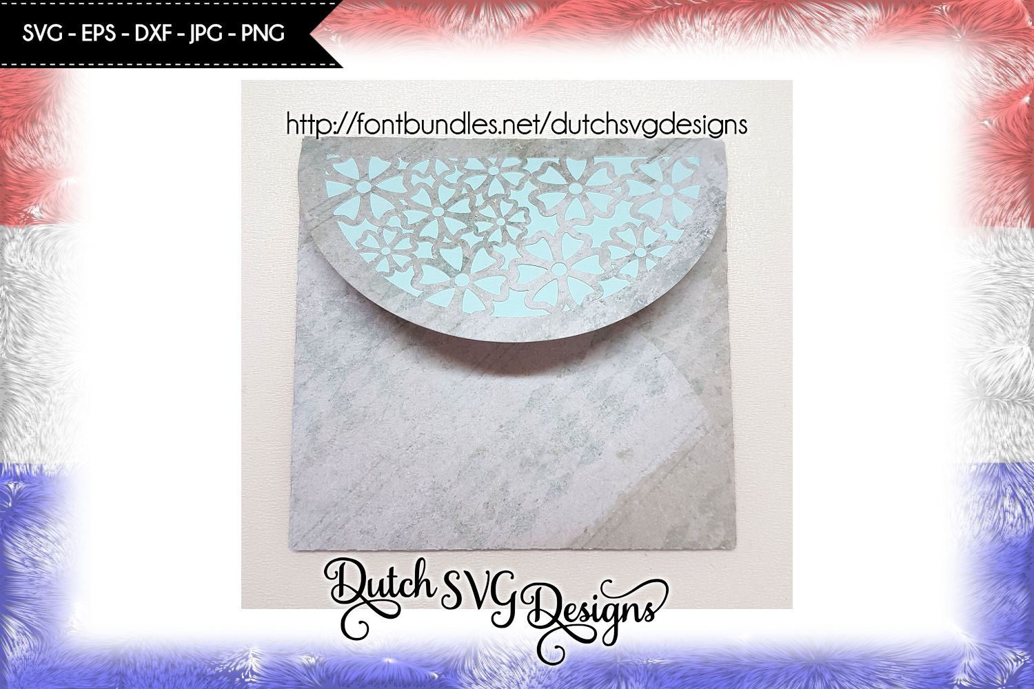 Cutting file blank card and envelop with flowers example image 4