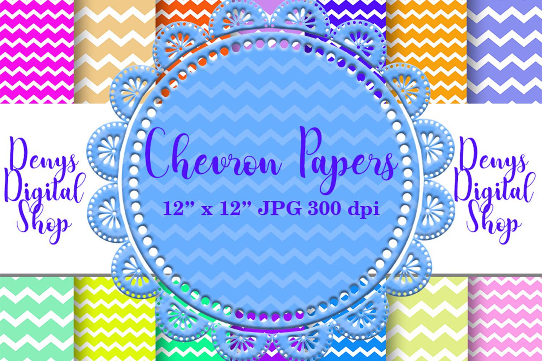 Chevron Digital Paper, Zigzag Digital Paper, Basic, SALE example image 1