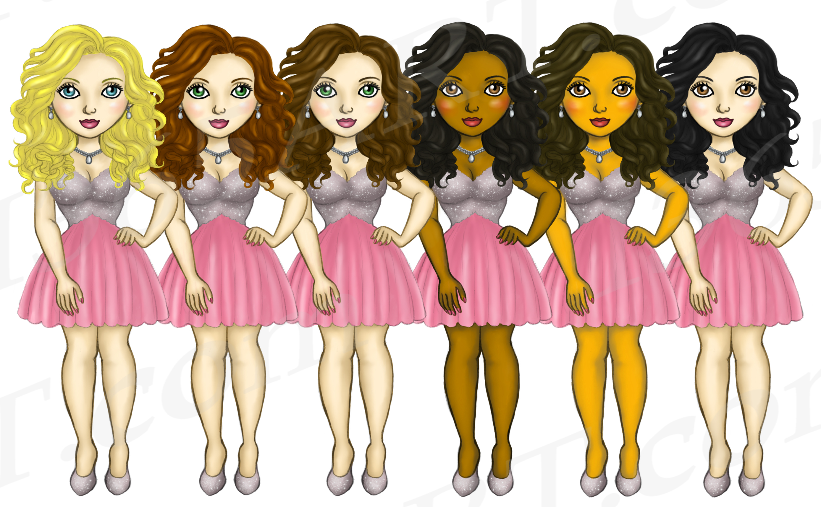 Party Dress Girls Cute Pink Dress Clipart, Fashion Dolls example image 2