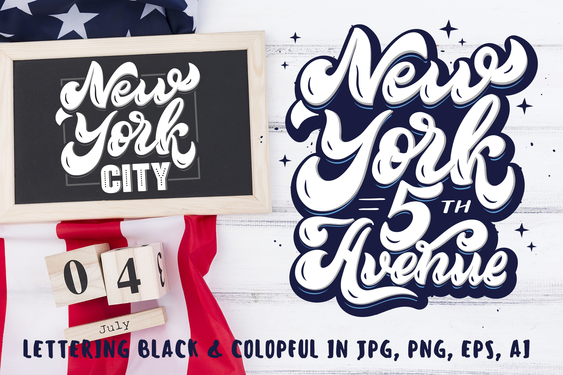 Set of New York hand drawn lettering example image 5