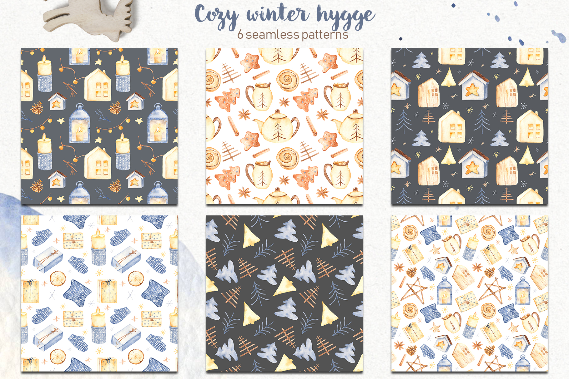 Hygge watercolor clipart Christmas cozy winter collection example image 6