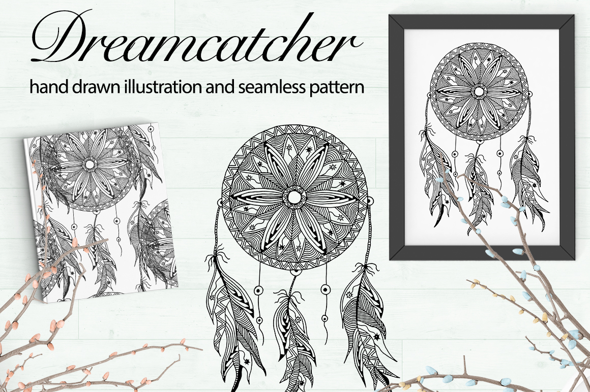 Dreamcatcher illustration and pattern example image 1