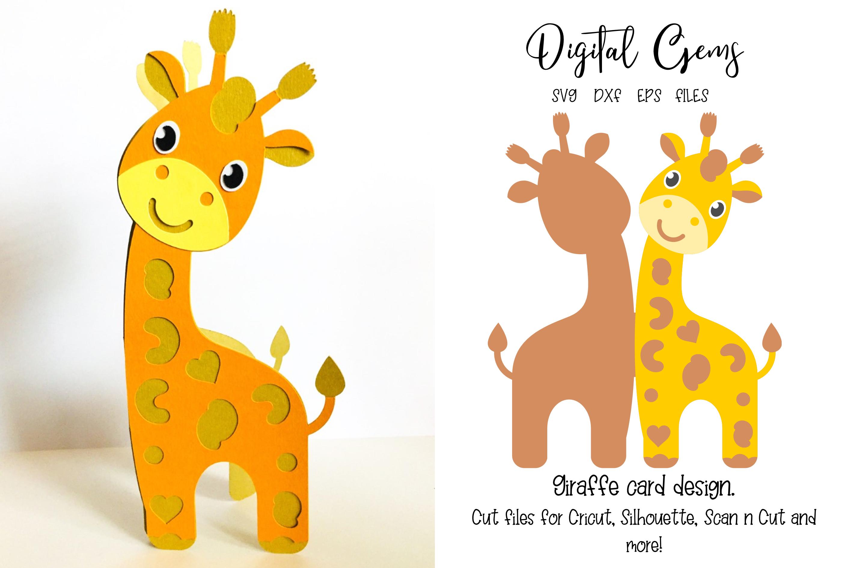 Giraffe card design SVG / DXF / EPS files example image 1