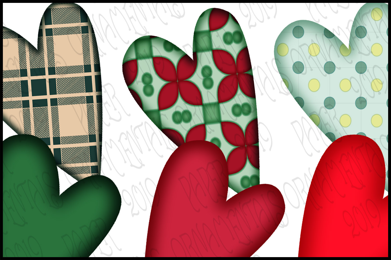 Christmas Clip Art, Holiday Primitive Hearts example image 2