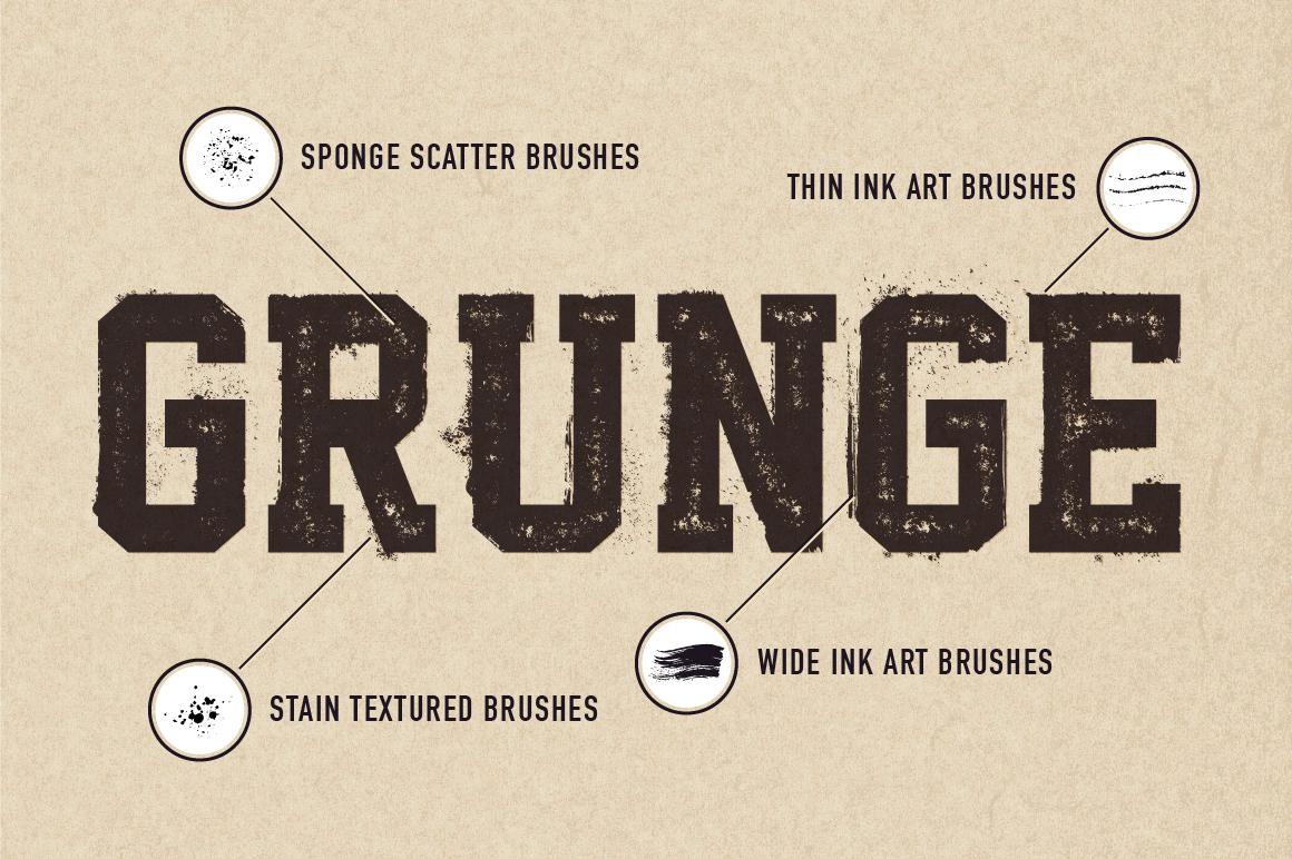 60+ Grunge Illustrator Brushes example image 3