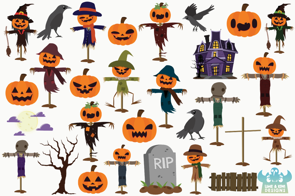 Spooky Scarecrows Clipart, Instant Download Vector Art example image 2