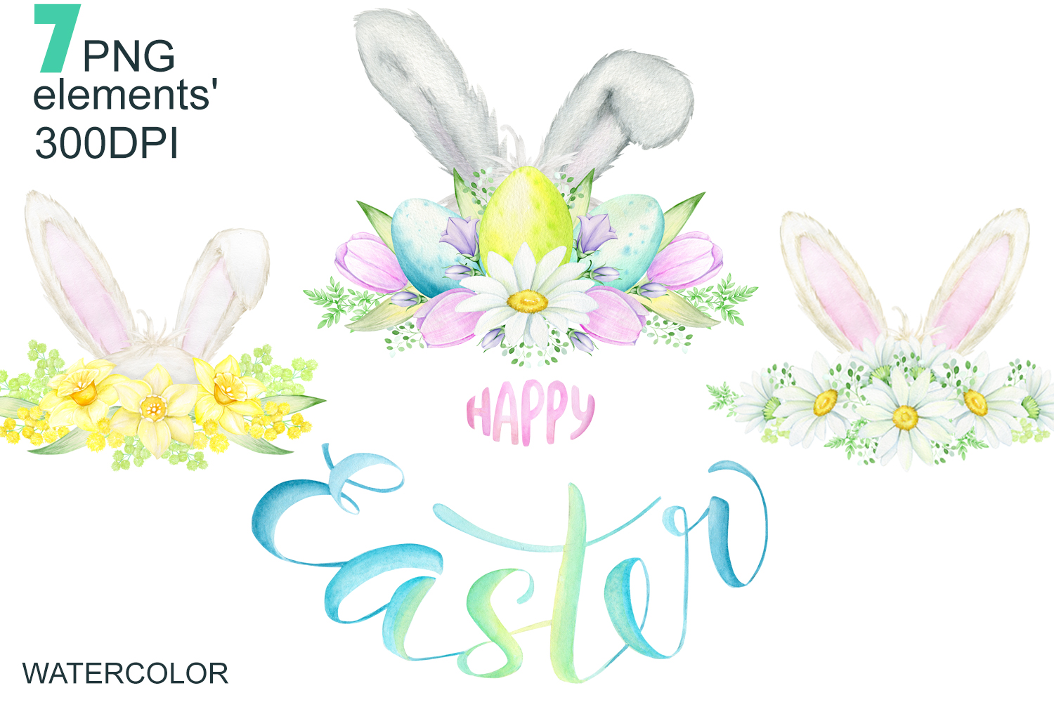 Watercolor Easter Bunny ears Clipart example image 1