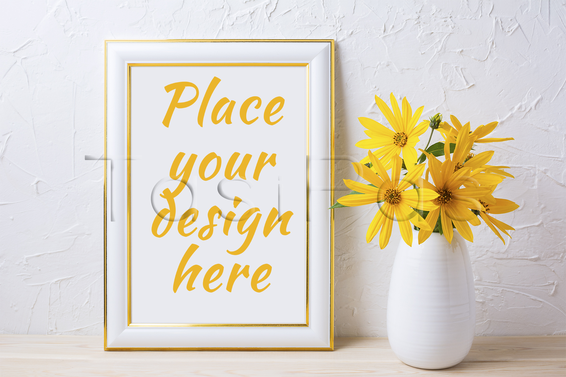 Gold decorated frame mockup with yellow rosinweed flowers example image 3