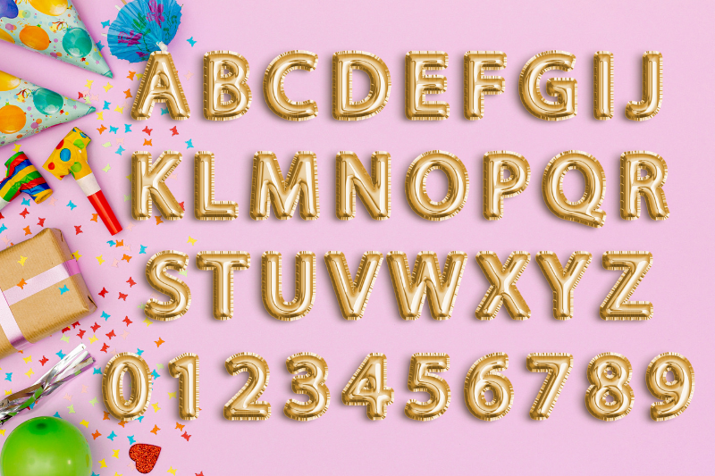 Gold Foil Balloon Letters Clipart, Digital Gold Balloons example image 2