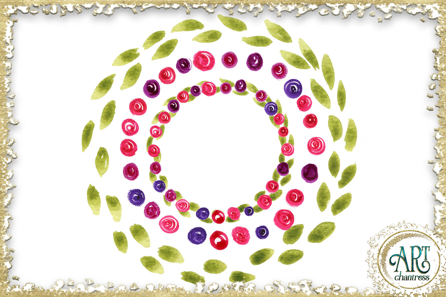 Spring floral fuchsia clipart 102 - PNG digital frames example image 2