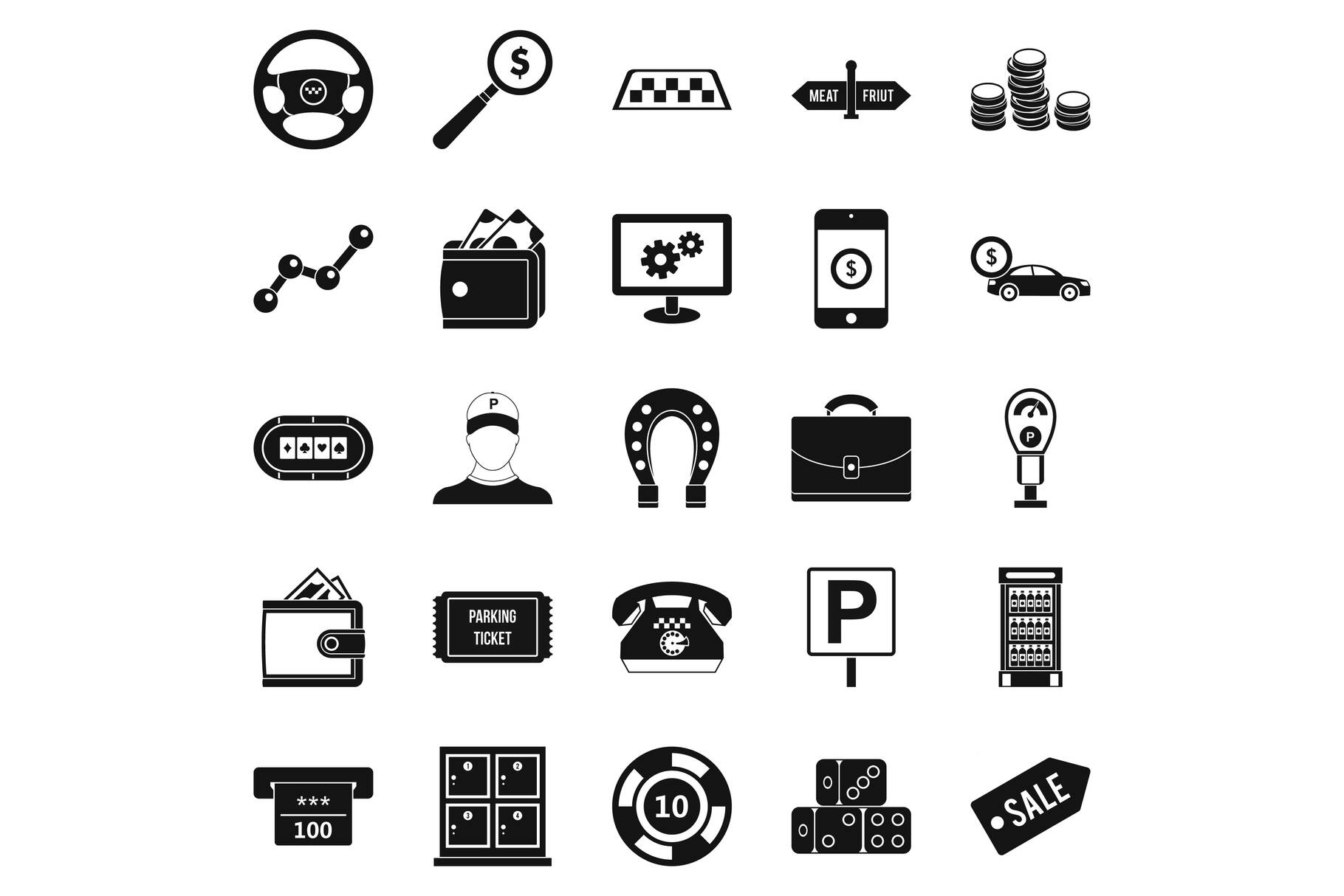 Shiner icons set, simple style example image 1