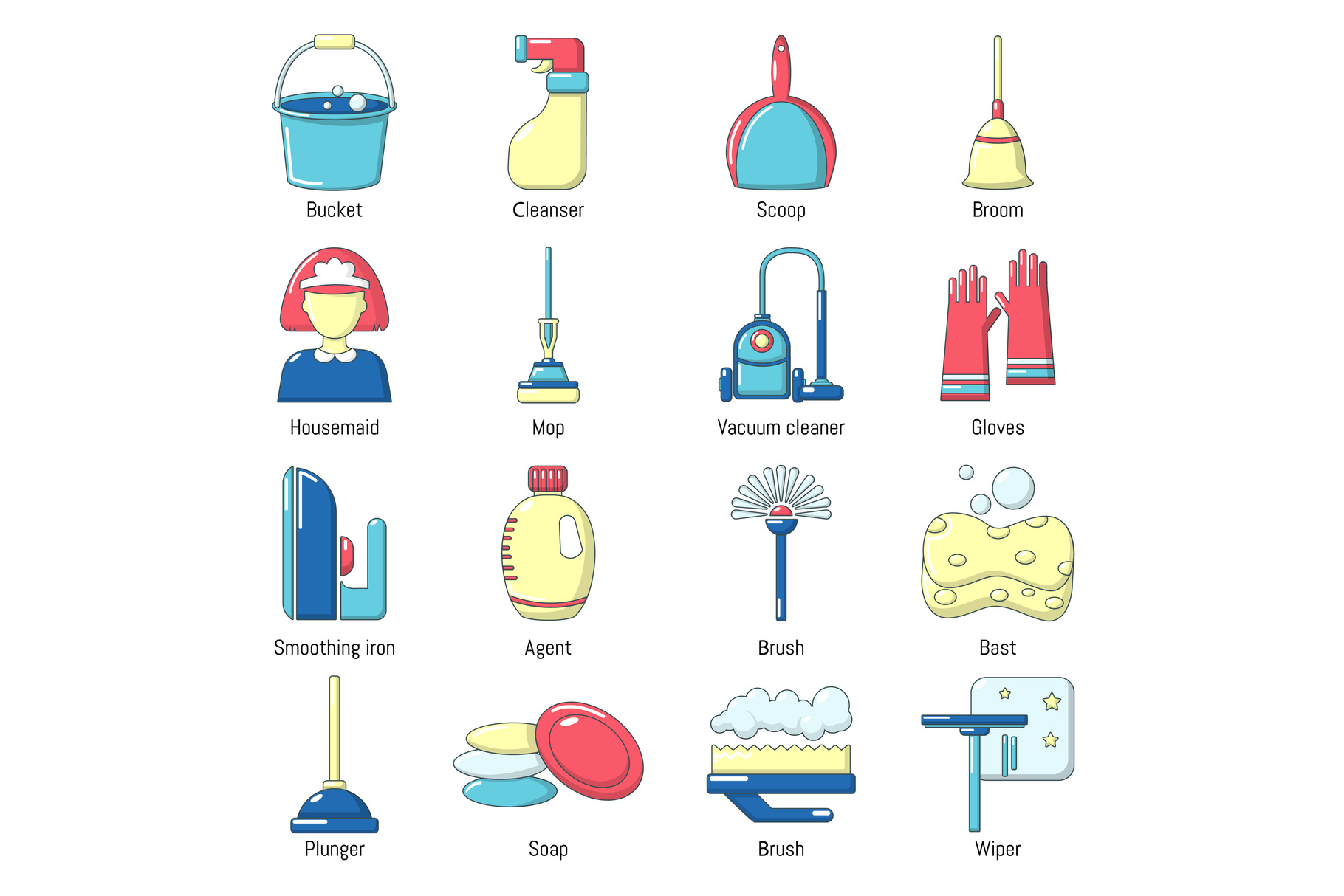 Cleaning tools icons set, cartoon style example image 1