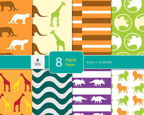 Animals Digital paper, Animals background, children dinosaur, Wild Animals, Triceratops paper for scrapbooking, blog background, card making example image 1
