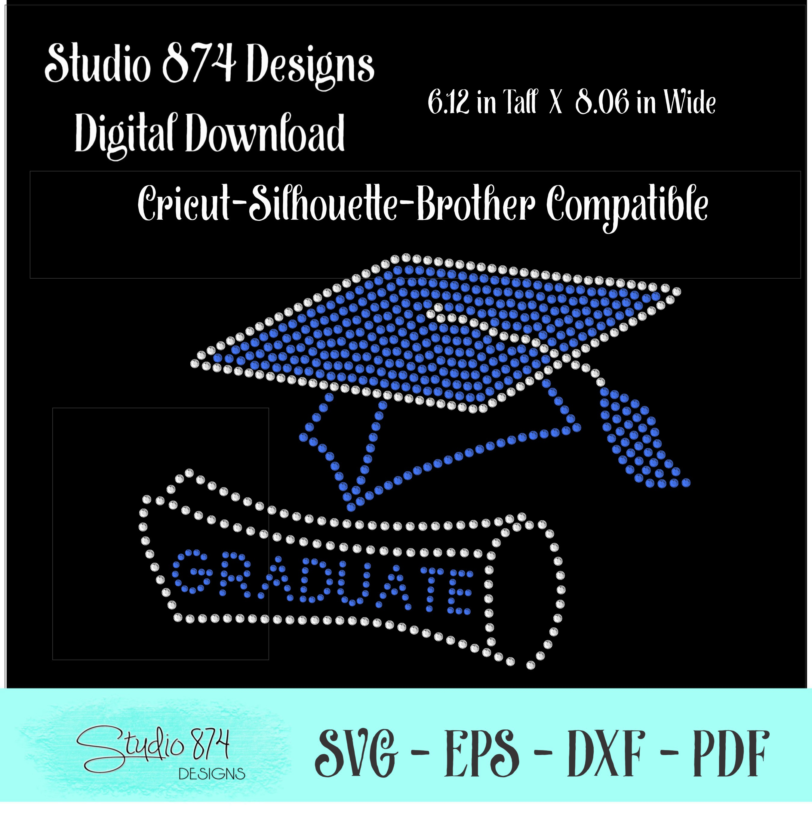 Graduate - Grad Cap Rhinestone SVG Template R1 example image 2