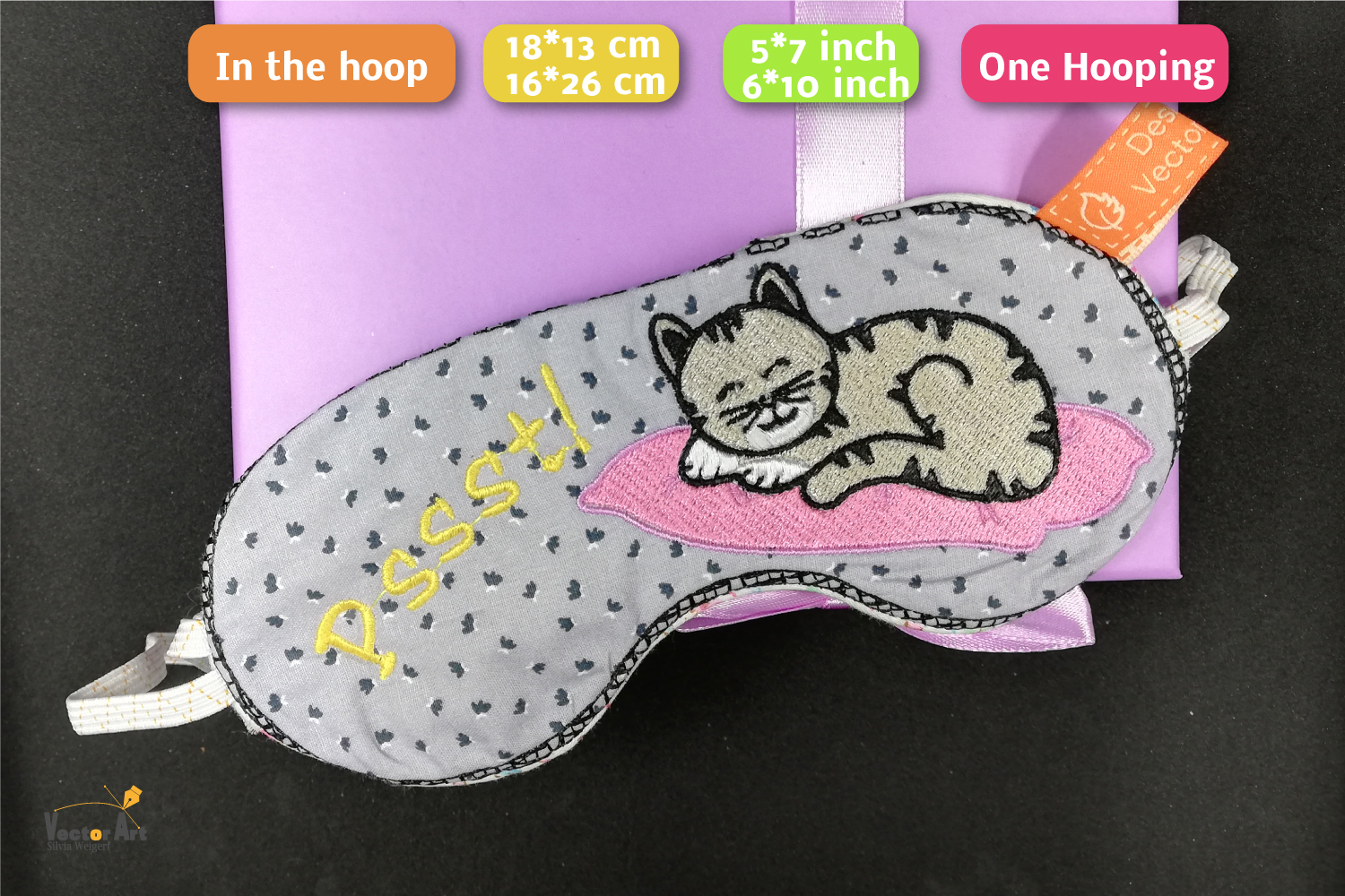 ITH - Sleeping Mask with cute Cat Embroidery - Embroidery example image 2