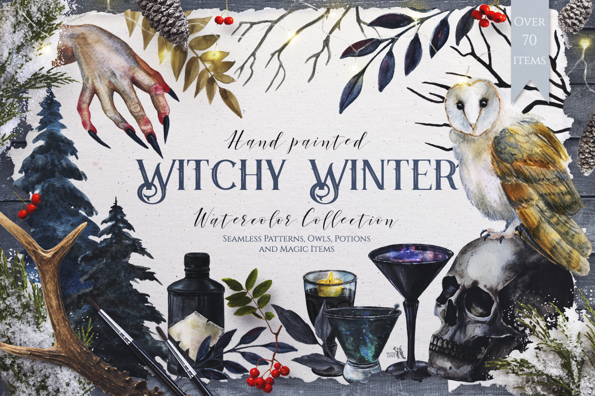 Watercolor Witchy Winter example image 1