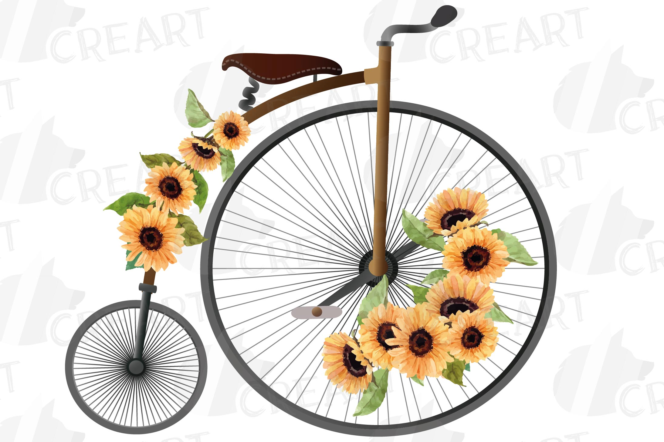 Sunflower bouquets high wheelers clip art. Floral bicycles example image 5