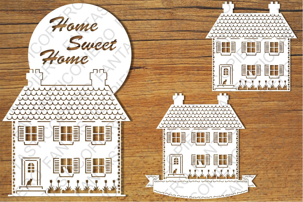 Home Sweet Home 2 SVG files for Silhouette and Cricut. example image 1