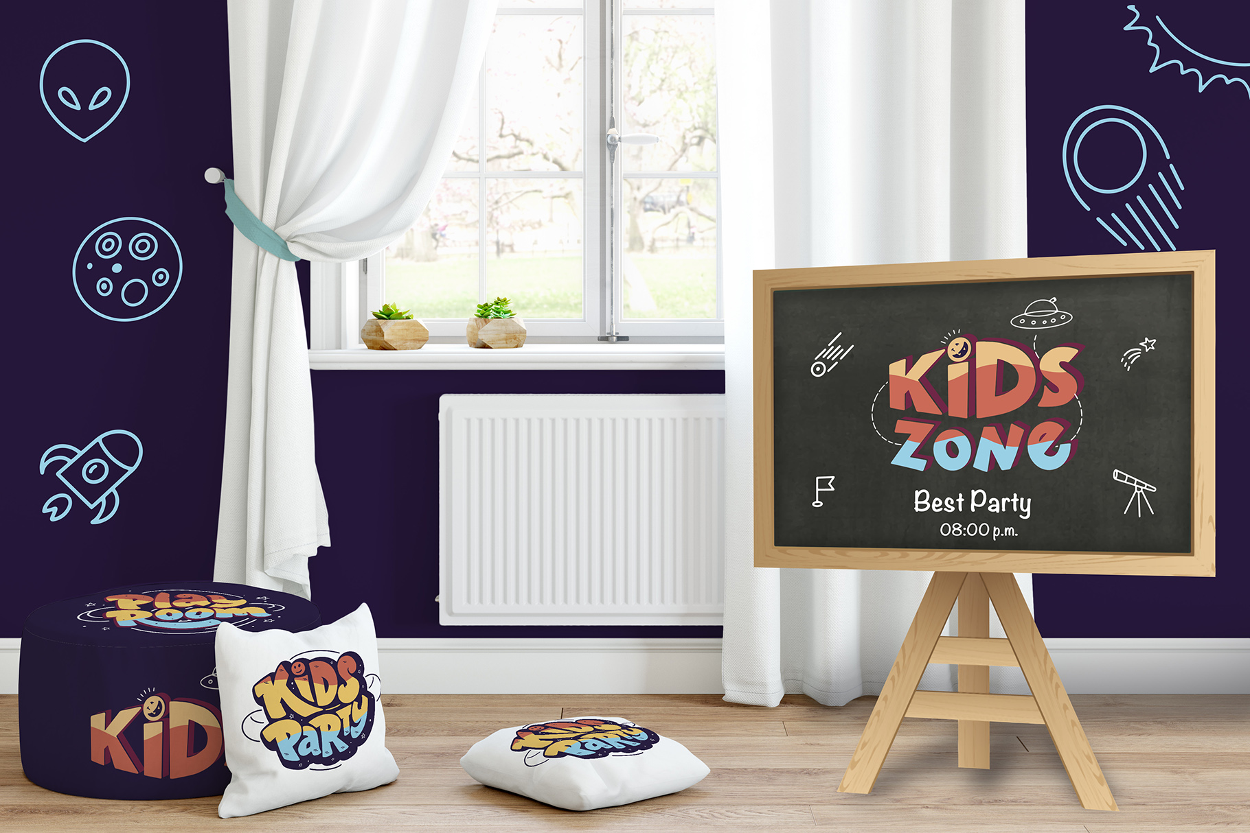 Set of kids zone hand drawn example image 5
