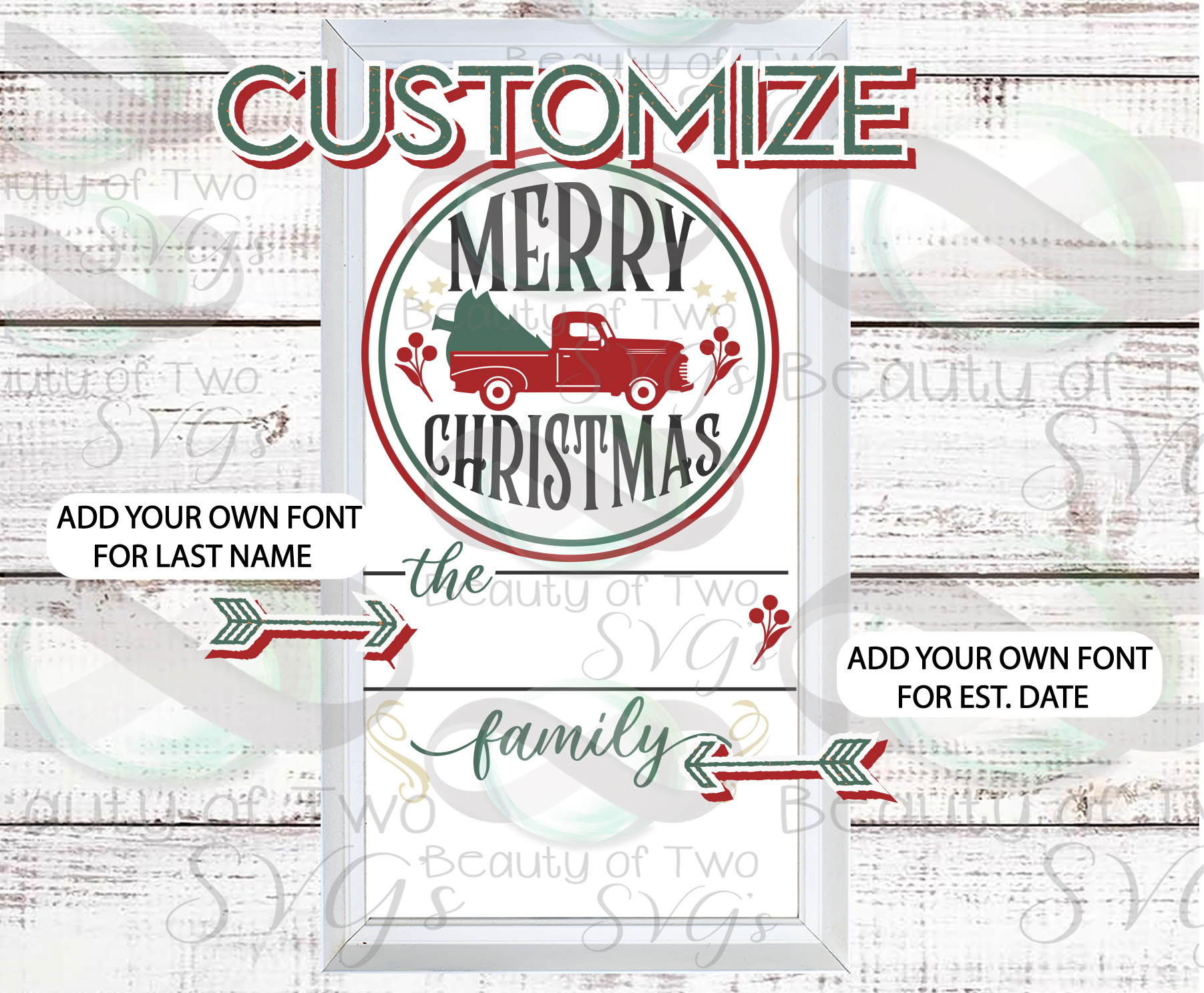 Customize Merry Christmas Vintage Truck Last Name sign svg example image 3