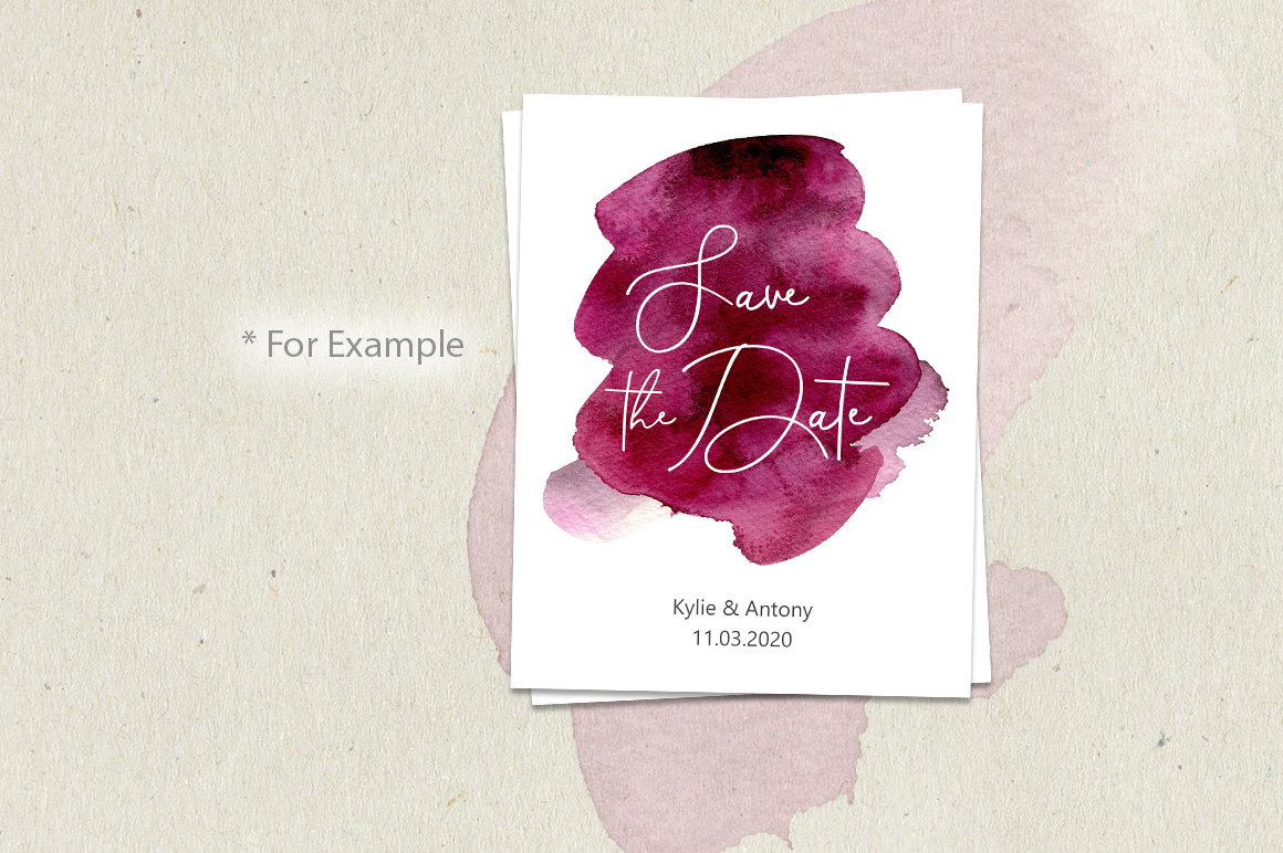 Burgundy Watercolor Splotches Stains PNG example image 3