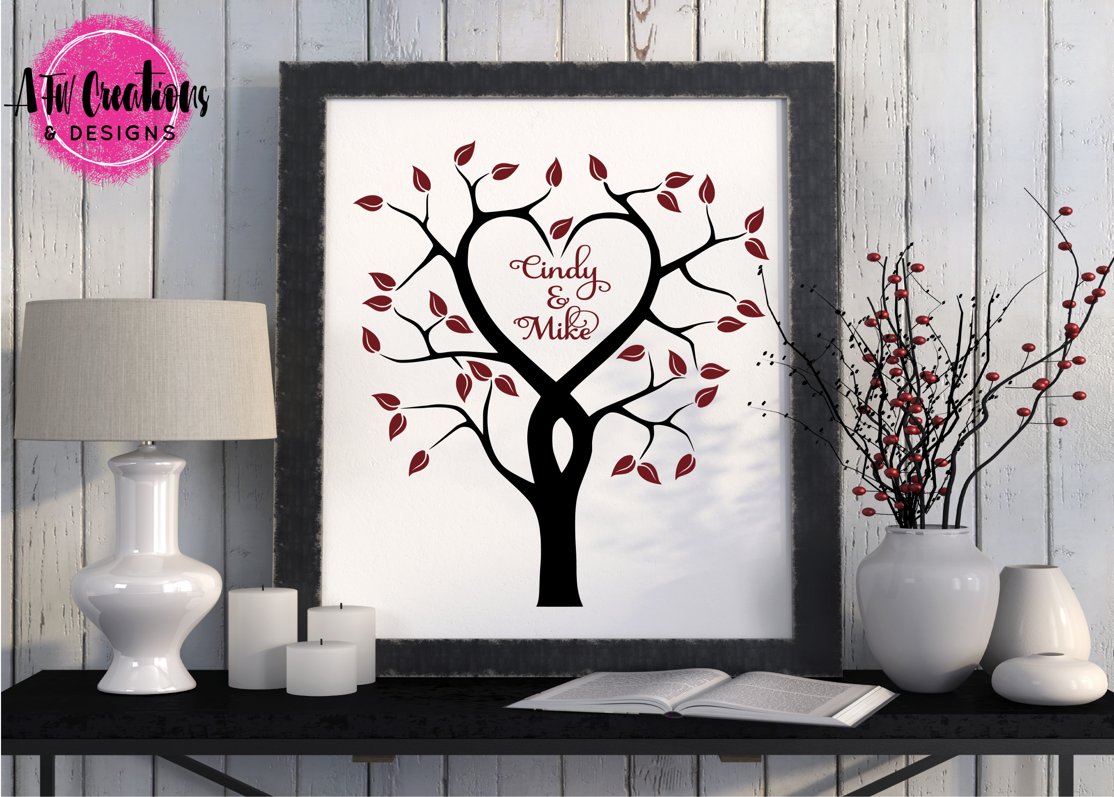 Heart Tree - SVG, DXF, EPS Cut File example image 2