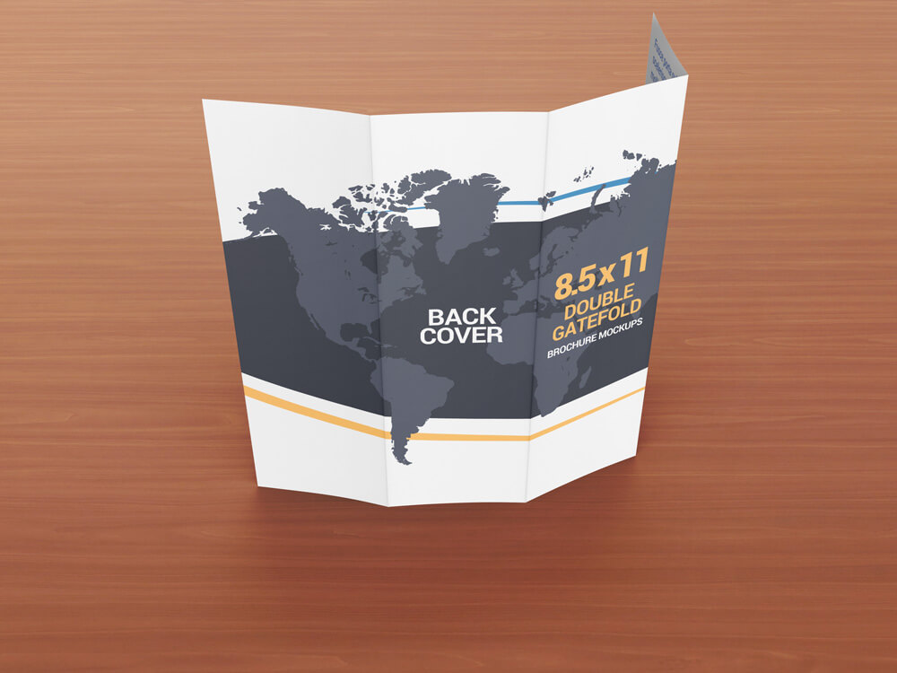 8.5 x 11 Double Gate Fold Brochure Mockups example image 2