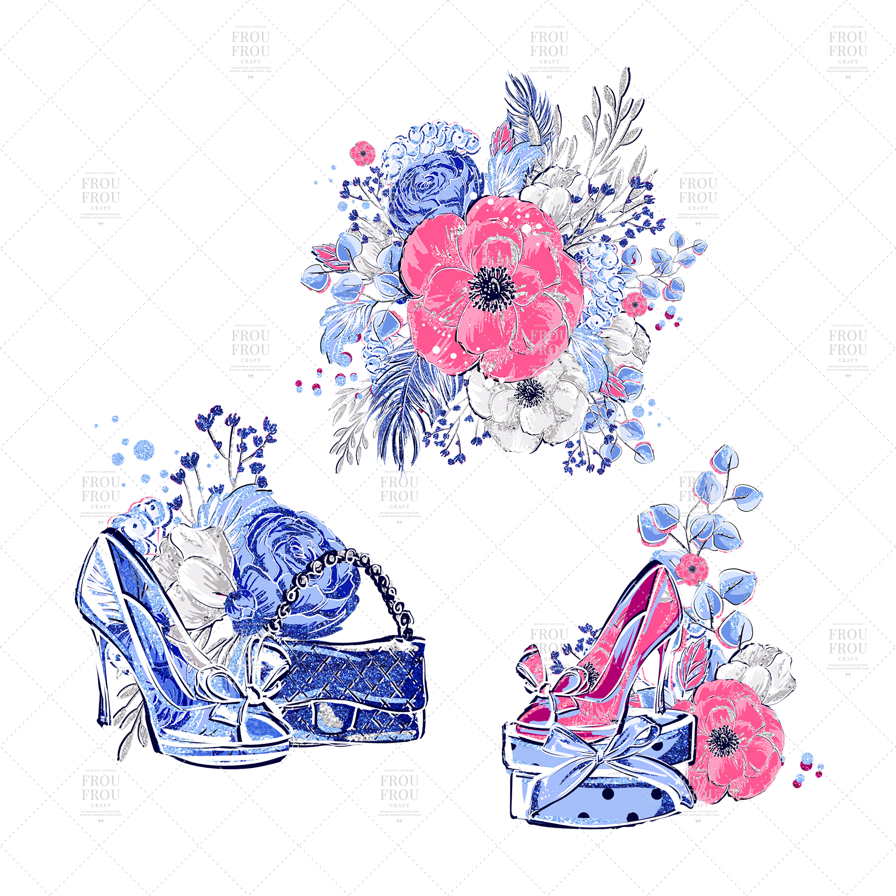 Fashion Girl Shopping Floral Silver Glitter Clip Art example image 9