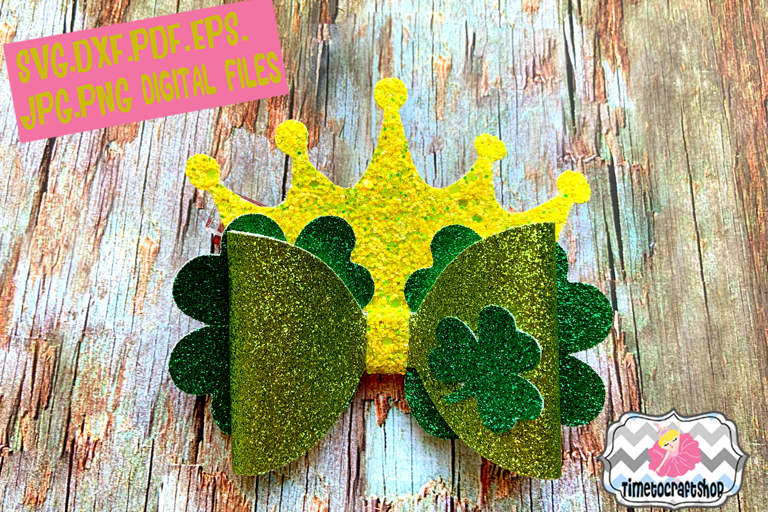 St Patrick's Day Shamrock Crown Hair bow Template example image 1