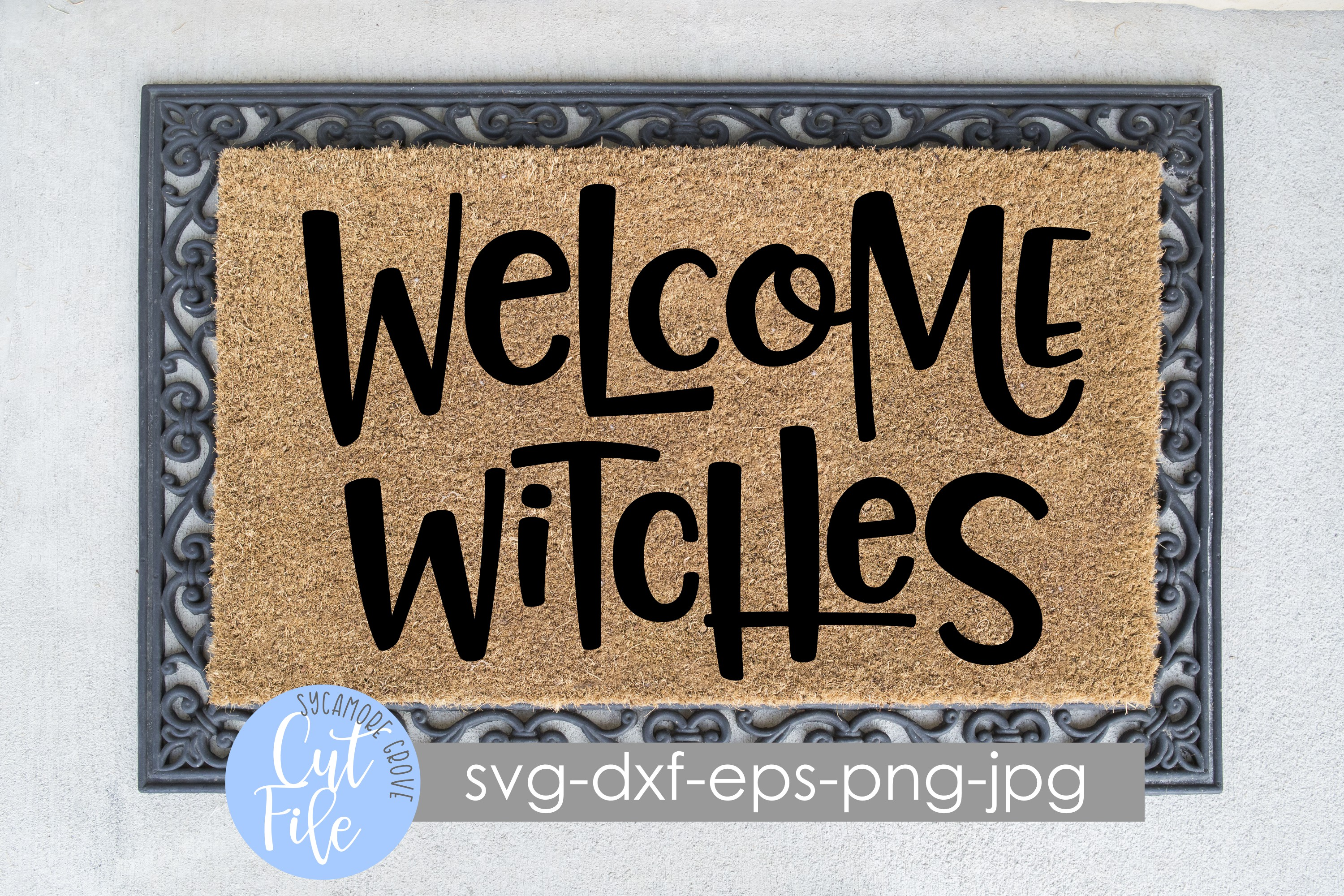 Welcome Witches | Halloween Doormat | SVG Cut File example image 1