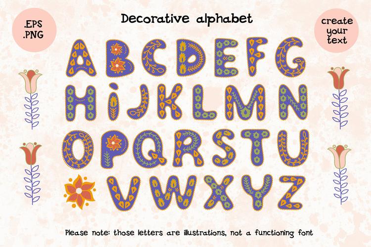 FOLK DECOR Vector Illustration Alphabet Seamless Pattern Set example image 3