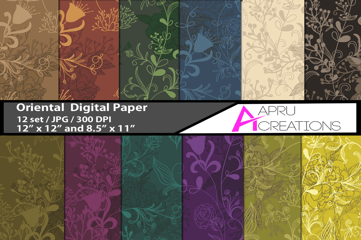 oriental pattern digital papers, oriental flower pattern, digital papers, high quality 300 dpi, 12 x 12 inch , and 8.5 x 11 inch example image 1