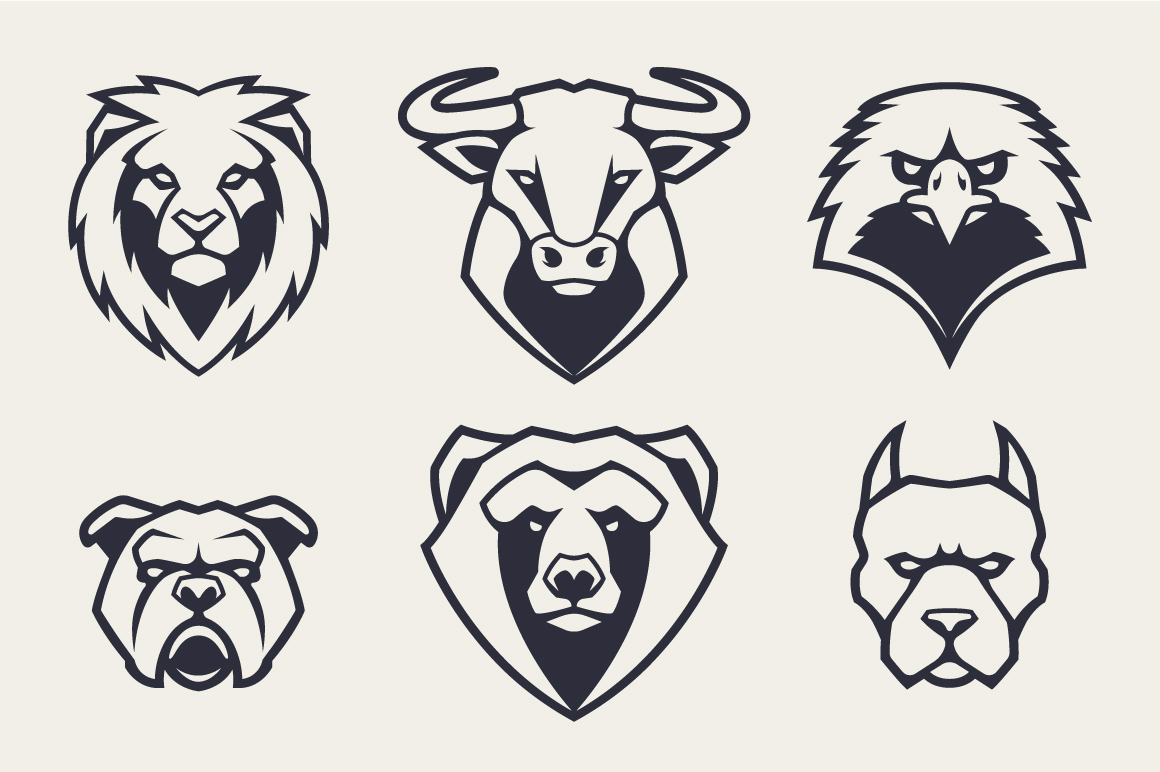Animals Mascot Icons Vector Set example image 5