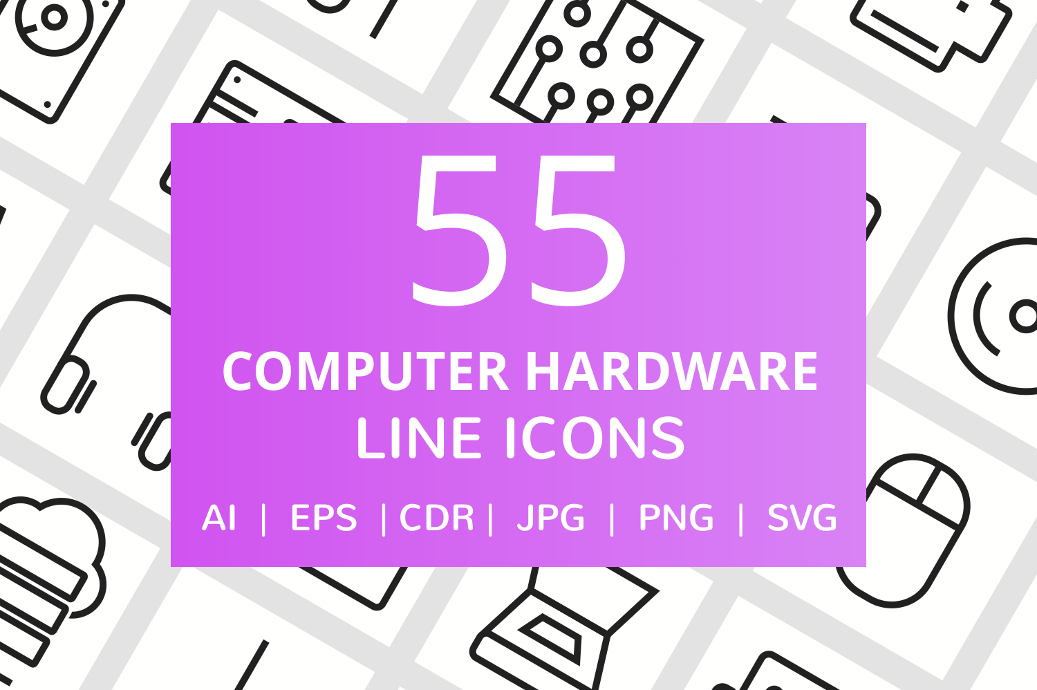 85 Computer & Hardware Line Icons example image 1