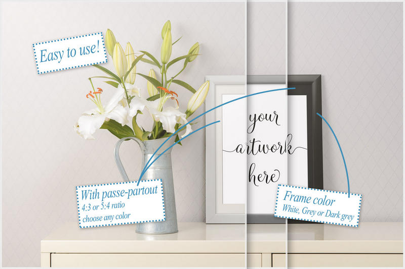 Frame mockup - clean bright interior lily flowers example image 2