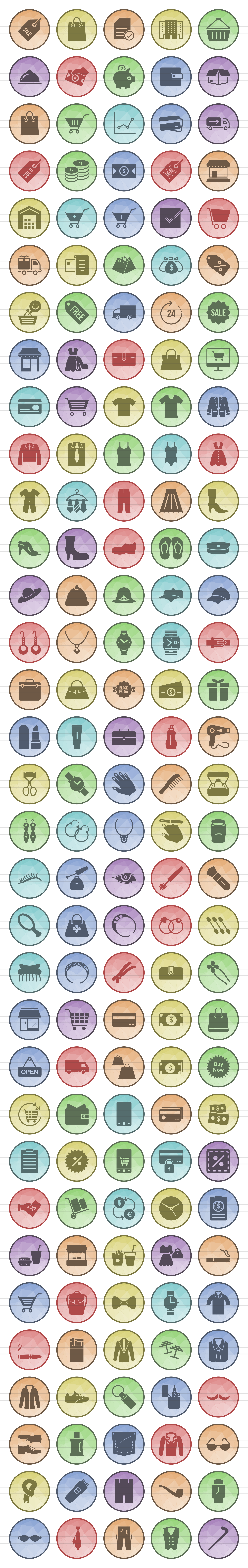 166 Shopping Filled Low Poly Icons example image 2