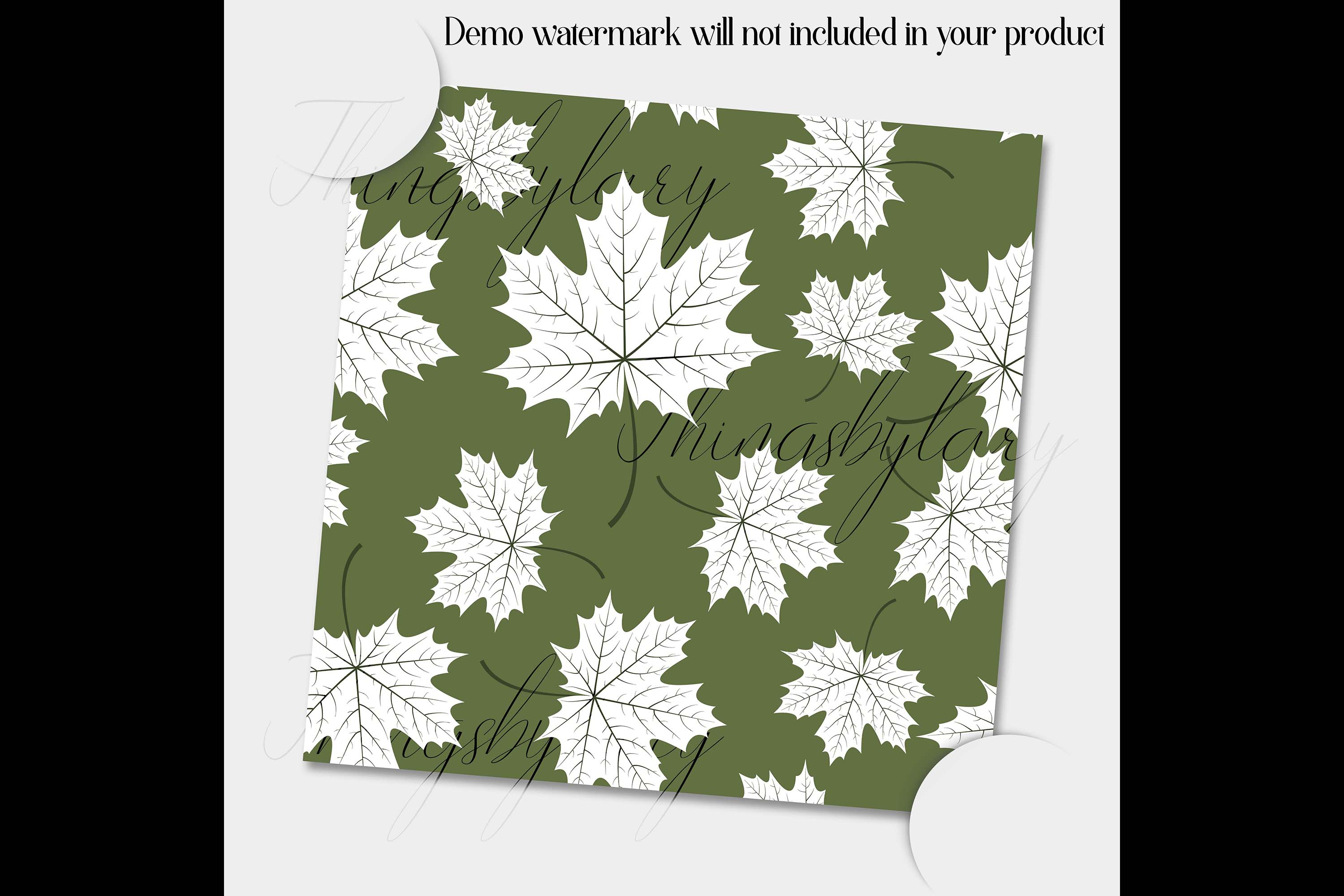 100 Seamless White Autumn Leaves Pattern Digital Papers example image 5