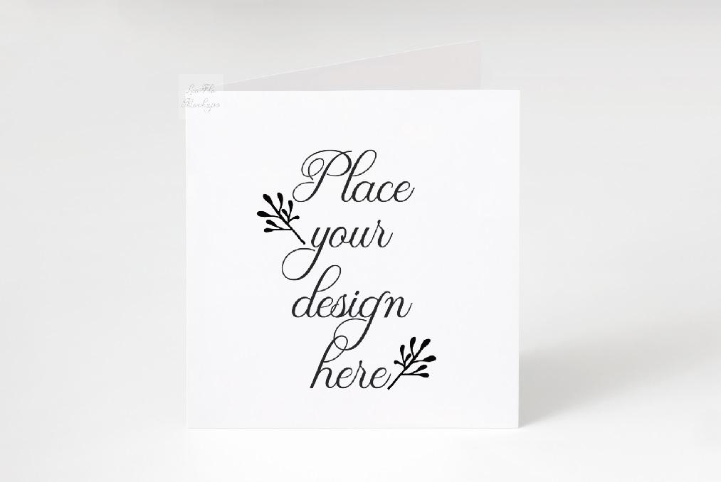 Square Greeting Card Mockup psd ivitation stationery mock up example image 1