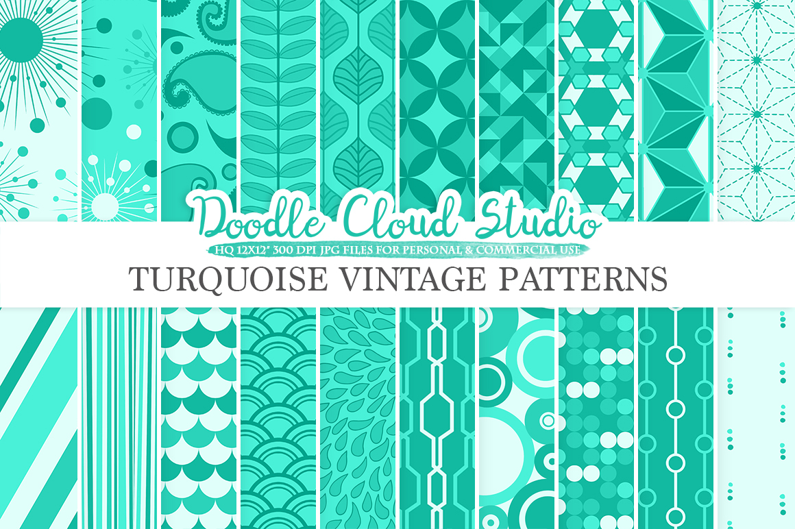Aqua Retro digital paper, Geometric Vintage Azure patterns, Turquoise digital backgrounds, Instant Download, for Personal & Commercial Use example image 1