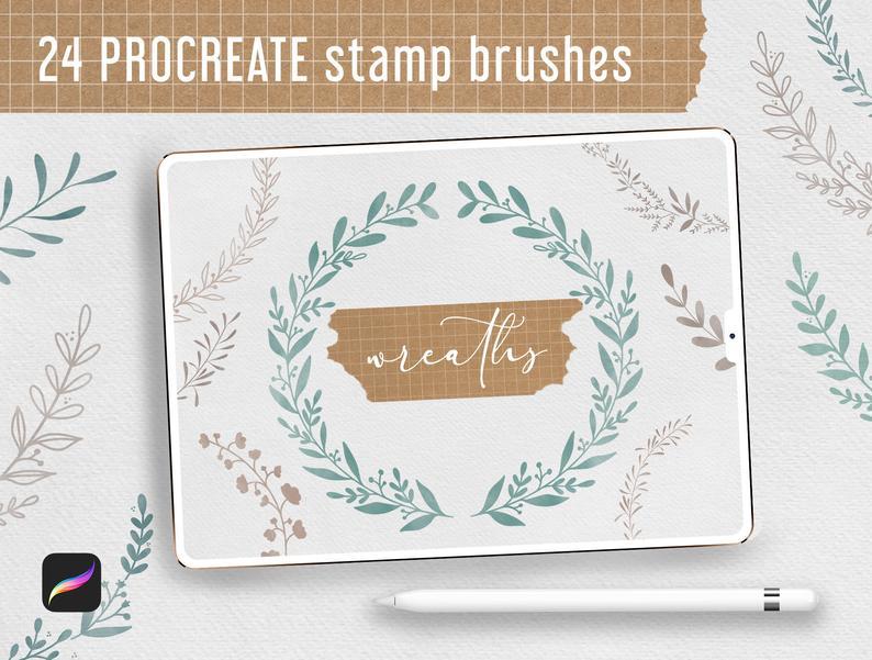Procreate Stamp Brushes Bundle - 122 elements   Botanical example image 5