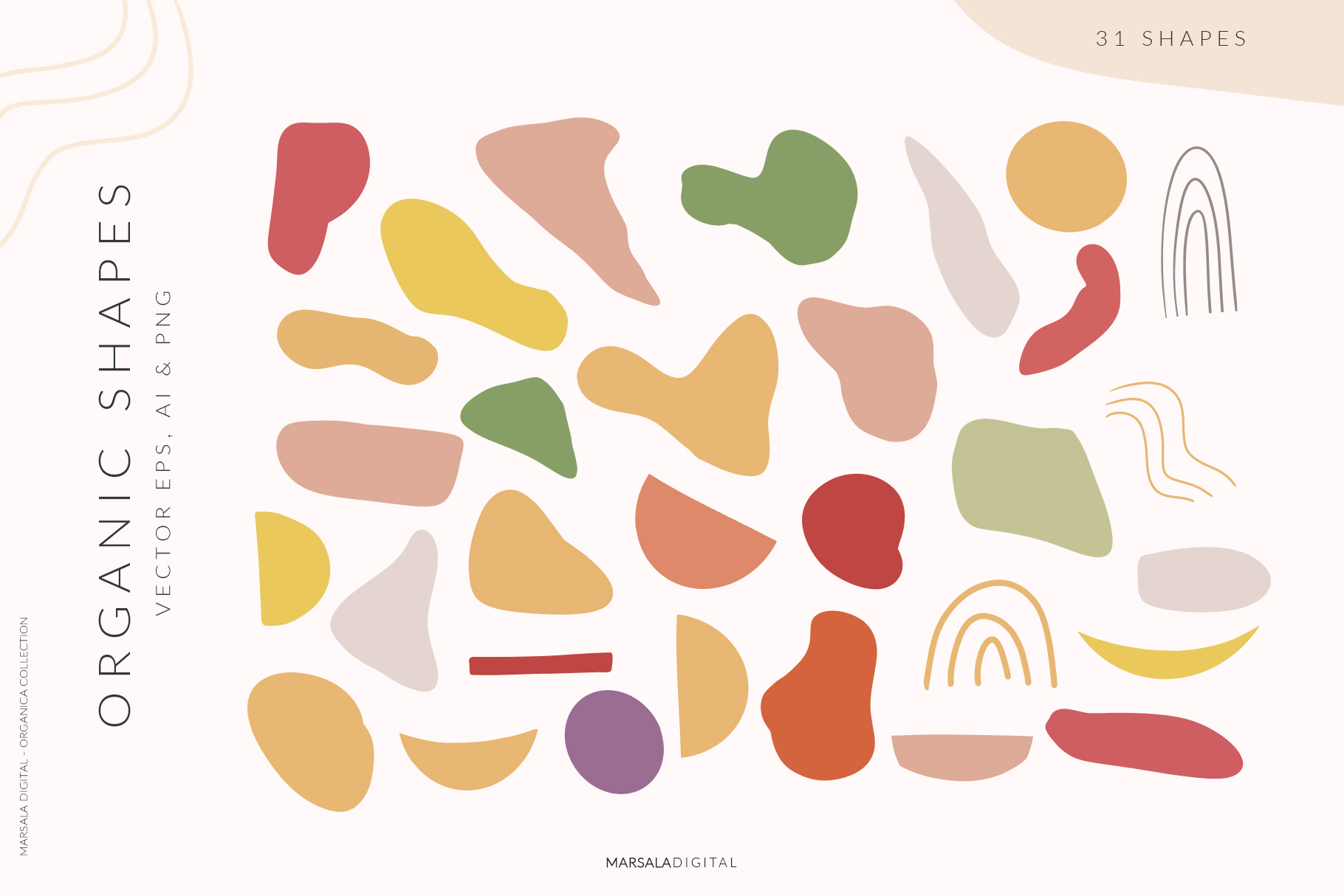 Abstract Shapes & Fun Fruits Patterns and Graphics example image 8
