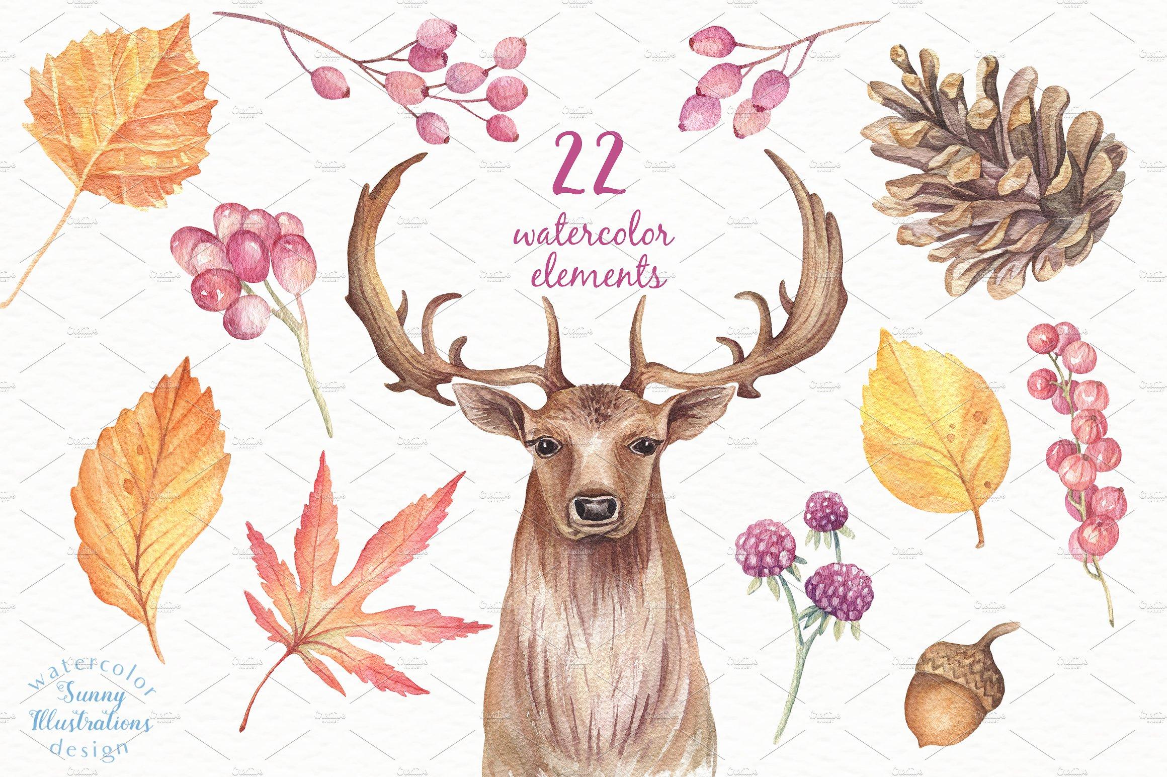 Happy Autumn - Watercolor Set example image 2