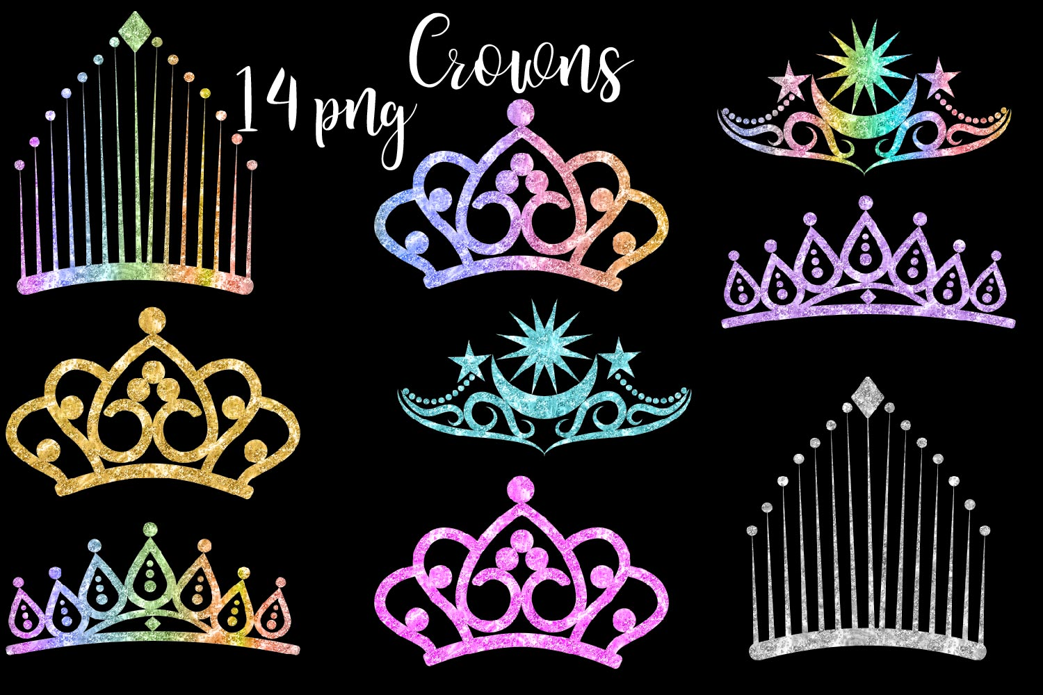 Glitter Crowns Clipart example image 1